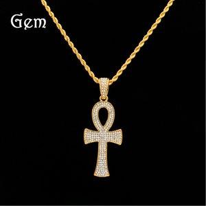 Hiphop egipcio Ankh clave collares pendientes para hombres cadenas de eslabones de oro de lujo cruz encanto joyería moda Hip Hop accesorios venta caliente