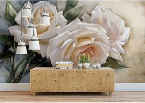 3D stéréo romantique blanc rose peinture à l'huile papier peint chambre de mariage chambre literie papier peint hôtel Guest House fond mur