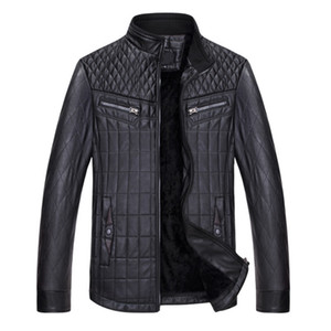 Wholesale- New Casual Fashion PU Leather Jacket Men Stand Collar Solid Pocket Autumn Winter Male Leather Jacket Top Coat