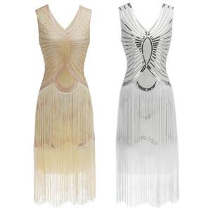 1920s Gatsby Charleston Lantejoulas Branco Fringe Flapper Vestido Vestido Robe Duplo Com Decote Em V Sem Mangas Em Camadas De Borla Vestido De Festa