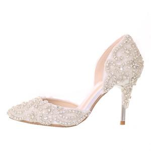 Robe de mariée magnifique Rhienstone chaussures à talons hauts bout pointu chaussures de mariée blanche talon mince Crystal Performance Party Pumps