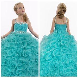 Cute Spaghetti Aqua Blue Girl's Pageant Dresses Long Beaded Crystal Organza Puffy Flower Girl Dresses 2018 Girl Birthday Dress