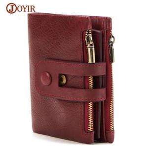 JOYIR Unisex Portafoglio donna uomo in vera pelle vintage portamonete con cerniera Portafogli da uomo piccola perse Solid RFID card