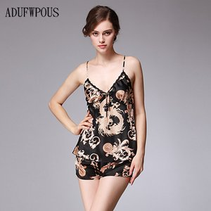 Explosion models sexy spinning silk pajamas ladies summer silk nightdress suspenders shorts two-piece home service suit
