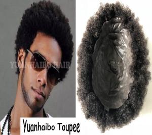 PU PU PU Toupée Afro Topee Vendre Cheveux Noir Cheveux Indian Cheveux courts Afro Kinky Curl Curl Skin Toupee Pour Black Hommes Livraison Gratuite