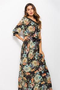 Bohemia moda sexy floral dress mulheres primavera verão 2018 um ombro inclinado gola impressão longo dress orange feminino
