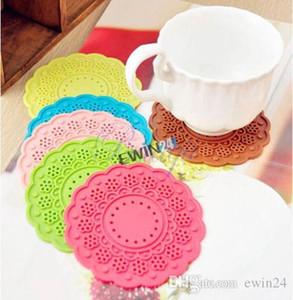 Silikon Çok Kullanım Çiçek Trivet Mat Dantel Doily Coaster Renkli Silikon Kupası İçecekler Tutucu Mat Farklı Renk