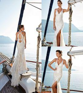 Split Side Mermaid Wedding Dresses Hollow Illusion Bodice Sleeveless Deep V Sheer Neck Bridal Gowns Sweep Train Wedding Dress