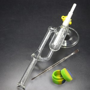 Vidro Água Bongos com suporte Wax Base de Dab Rigs Dica 14 milímetros Ceramic 18 milímetros Joint Oil Rigs Mini Nector Collector Kit de vidro da tubulação de água