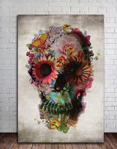 Di alta Qualità Dipinto A Mano HD Stampa Astratta Moderna Pittura A Olio di Arte Del Cranio Dello Zucchero Regalo Su Tela Wall Art Home Decor Multi size l70