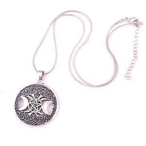Triple Lune Déesse Wicca Pentagramme Amulette Magique Collier Femmes Arbre Lune Colliers Pendentifs Bijoux Vintage