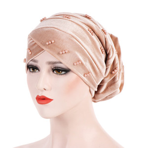 Müslüman Kadınlar Streç Çapraz Boncuk Kadife Fırfır Türban Şapka Kanseri Kemo Kasketleri Şapkalar Wrap Kaplama Saç Dökülmesi Aksesuarları