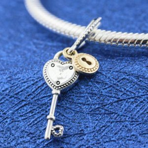 Gold Sterling Silver Key 925 Bracelets Charm Dangle Heart European With 14K Style Fits My Jewelry To Pandora Bead Necklace Dhrwf