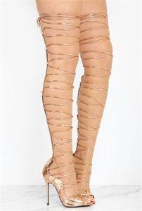 Sommer neue Design Frauen Peep Toe Gold Lederband Kreuz über Knie Gladiator Sandalen Cut-out lange High Heel Sandale Stiefel Kleid Schuhe