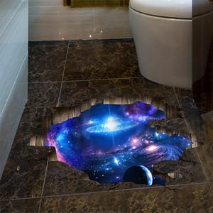 1 PCS 60 * 90 centímetros 3D DIY Universo Galaxy Vinyl Wall Stickers Piso Teto Decoração frete grátis