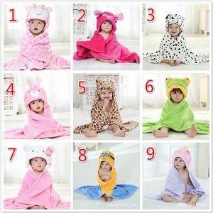 Peignoir à capuchon absorbant de manteau de dessin animé de bébé du dessin 9 de conceptions de flanelle avec le manteau simple de tenue de manteau de couche simple des enfants de chapeaux d'animaux mignons