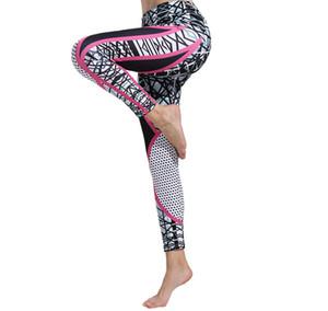 Йога брюки дамы осень и зима эластичный спорт работает цифровой печати фитнес брюки геометрические линии высокой талией бедра брюки