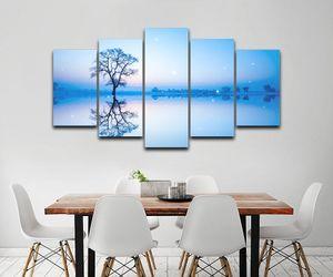 Envío gratis 5 Unidades Lake Tree Reflexión Cielo Paisaje Abstracto Lona Modular HD Prints Carteles Home Decor Art Portait Poster Wall Pictu