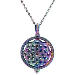 """C972 Arcobaleno Colore Rotondo Magnete Fiore di loto Perle Ciondolo Gabbia Olio essenziale Diffusore Aromaterapia Perle Gabbia Ciondolo medaglione 20 """"Collana"""