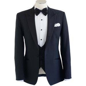 Navy Blue Groom Men Suits One Button Peaked Lapel Wedding Tuxedos for Groom Three Piece Suit (Jacket + Vest + Pants)