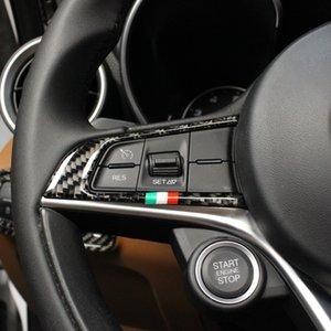 2 Stück Kohlefaser-Art-Auto-Lenkrad-Taste Trim Rahmenabdeckung für Alfa Romeo Giulia Stelvio Zubehör