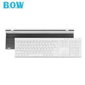 B.O.W Super fino Metal teclado fino sem fio Recarregável, Design ergonômico Silent teclado de tamanho completo para computador desktop PC