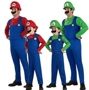 Erwachsene Kinder Cosplay Kostüm Super Mario Luigi Brüder Klempner Fancy Party Kostüm 3 stücke 1 satz strampler + hut + Bart KKA5689