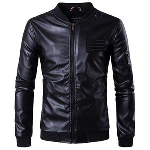 Atacado- 2017 nova venda moda jaqueta de couro clássico outono primavera homens motocicleta jaqueta de couro fina masculina bombardeiro motocicleta motociclista homem casaco