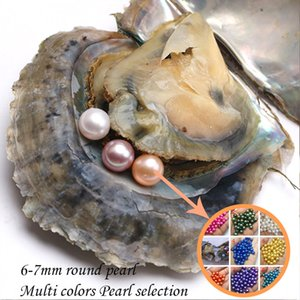 Oyster Pearl rotondo 6-7mm 20 Mix di ostriche di acqua salata di Akoya con tre perle Perle naturali fai-da-te Perline sfuse confezioni sottovuoto 2018
