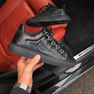 Atacado Novo Estilo Causal Homem Sapato Branco Vermelho Enrugado Low Cut Sneaker Moda Arena Sapatos de Grife de Transporte da gota Tamanho 39-46