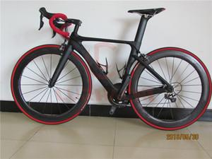 LURHACHI 탄소 섬유 완전한 자전거 탄소 도로 자전거 자전거 프레임 + 딤플 카본 휠 + 카본 핸들 바 / 새들 + R8000 그룹 세트