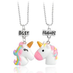 Colgante popular 1set accesorios para niños de resina de color sólido unicornio BF collar colgante para niña envío gratis