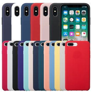 Tem LOGO iPhone Original Líquido Oficial Gel de silicone à prova de choque Soft Phone Case Capa Para 11 Pro Max XS XR X 8 7 6 6S Plus com Retail Box