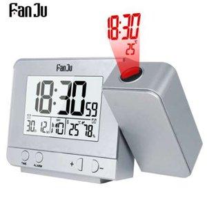 FanJu FJ3531 Projeksiyon Çalar Saat Dijital Tarih Erteleme Fonksiyonu Ile Arka Projektör Masası Masa Led Saat Zaman Projeksiyon