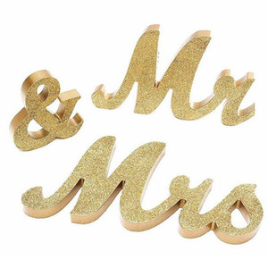 Romantico Vintage Mr Mrs Silver Gold Lettere in legno firmano Mariage Wedding Party Top Table Decoration Photography ZA5681