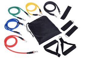 11 pçs / set Bandas de Resistência de Fitness Exercício Tubos Prático Corda de Treinamento Elástico Ioga Corda de Puxar Cordas de Treino de Pilates