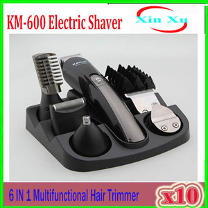 2018 KEMEI KM-600 Professional 6 in 1 전기 머리 트리머 Hair Clippers 충전식 면도기 면도기 수염 면도기 10pcs ZY-TX-02