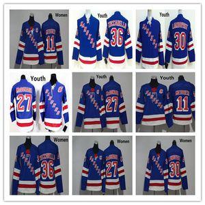 2018 뉴욕 레인저스 청소년 여성 27 Ryan McDonagh 30 Henrik Lundqvist 36 Mats Zuccarello 11 Mark Messier Blue Hockey Kids Ladies Jerseys