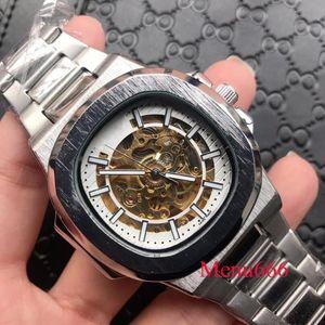 Hohe qualität herren aushöhlen edelstahl uhr automatische mechanische armbanduhr wasserdichte uhren casual sport stil armbanduhr
