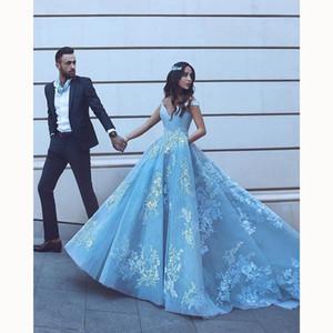Pocket Design Spitze Applique Ballkleid Abschlussball Quinceanera Kleider Dubai Arabisch Off-Schulter Luxus Zug Princess Occasion Abendkleider