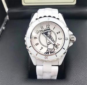 New Lady Branco / Preto Cerâmica Safira Espelho de Vidro Relógios de Alta Qualidade de Quartzo Moda Requintado Mulheres Relógios Relógios De Pulso