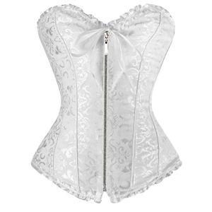 Sexy Bianco donna corse Plus size Corsetto con cerniera overbust shapewear con perizoma burlesque korsett corpetto corselet e espartilho E10