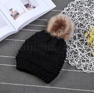 Bambini PomPom Berretti bambino maglia caldi di inverno Cappelli spessore elastico Knit Beanie cappelli del Beanie Bobble 9 colori OOA3899-5