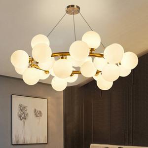 Avrupa halka şeklindeki Salonu modern siyah altın LED asılı lamba ışık oturma odası fuaye yuvarlak cam top balon halka kolye ışık