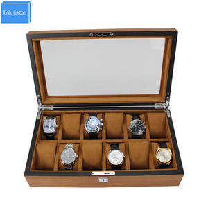 Top Luxury Heavy New Wood Skin 12 Slots Brand Watch Box Case Gift Box Caja Relojes 12 Business Promotion Event Watches caixa para relogios