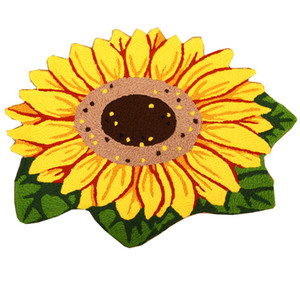 3D Handmade Sunflower Non-slip Rug Pad Home Decoration Floor Mat Pretty Yellow Anti-slip Flower Carpet Living Room Footmat Doormats