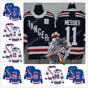 New York Rangers # 2 Brian Leetch 11 Mark Messier 35 Mike Richter 99 Gretzky Blu Bianco Inverno Classic Navy retied Giocatori Maglie