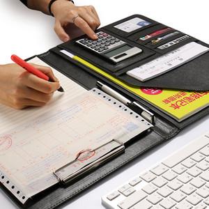 A4 ملف بو الجلود مجلد مع حاسبة متعددة الوظائف اللوازم المكتبية المنظم مدير الكتابة منصات ورقة العقد القانوني