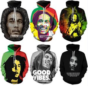 2018 Новая мода Пары Мужчины Женщины Unisex Bob Marley 3D печати толстовки свитера Толстовка Куртка Пуловер Top