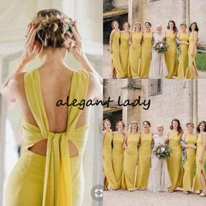 Sexy Slit Side Bohemian Long Abiti da damigella d'onore 2019 Modest Jewel Yellow Sheath Long Country Garden Maid Of Honor Wedding Guest Gown